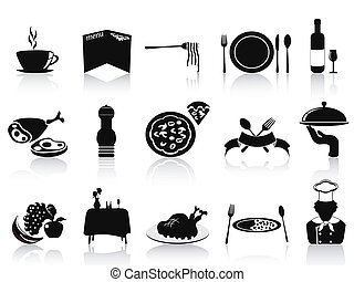 black restaurant icons set - isolated black restaurant icons...