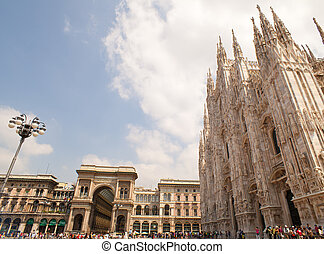 Milan cathedral - View of the Milan cathedral and Vittorio...