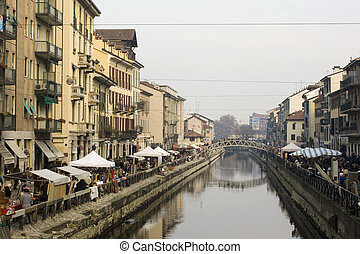 Naviglio, the canal in Milan - Italy