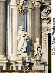 St. Peter statue on Catania cathedral - Italy