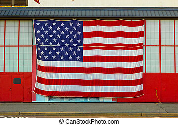 American Flag - A big American flag on the outside of a...
