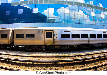 Passenger Train - Typical passenger train against a mirrored...