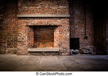 Brick Fireplace - Rough brick fireplace and wall for...