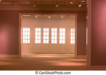 Interior - Empty room interior with windows for backdrop