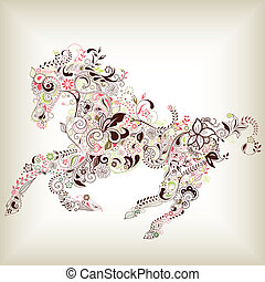 Abstrakcyjny, kwiatowy, koń