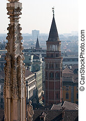 Bell tower next to the Milan cathedral