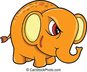 Tough Mean Elephant Animal Vector