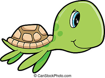 Cute Happy Summer Sea Turtle Animal Vector