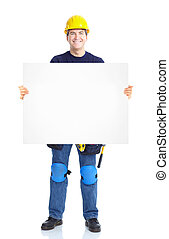 Industrial worker. - Industrial worker with placard....