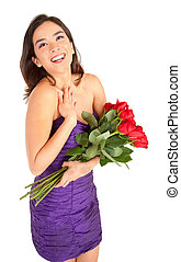 Happy Woman Holding Roses - Woman in an evening dress is...
