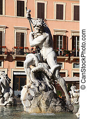 Fountain of Neptune Rome - Neptune in the middle of the...