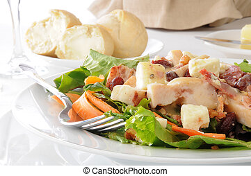 Salad with dinner rolls