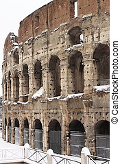 Colosseum under snow - Colosseum arena in Rome under snow