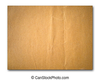 Brown crumpled paper isolated on white background