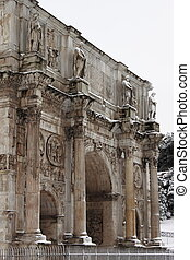 Arch of Constantine under snow - Arch of Constantine in Rome...
