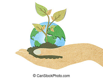 Green leaf with hand recycled paper craft - Green leaf with...