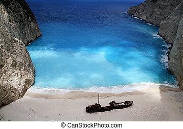 beach Navagio in Zakynthos, Greece