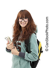Young smiling student woman