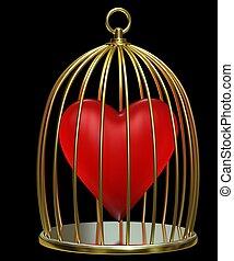 Heart in golden cage - Red heart in golden cage