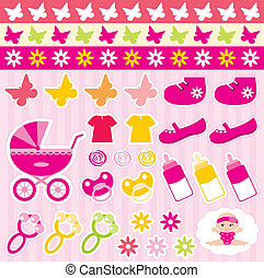 Scrapbook elements with children's - Vector illustration,...
