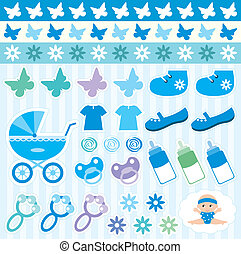 Scrapbook elements with childrens - Vector illustration,...