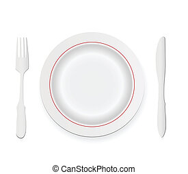 knife, fork and plate isolated on white