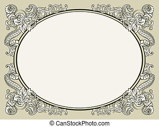 Vintage floral frame - Oval vintage floral decorated bookish...