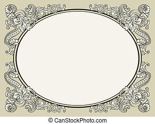 Vintage floral frame - Oval vintage floral decorated bookish...