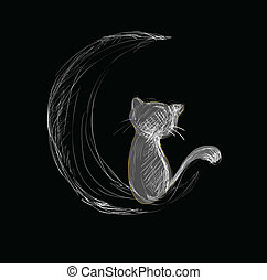Cat on Moon Hand Drawn Sketch