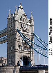 Detail of Tower Bridge - London, under the bridge view.