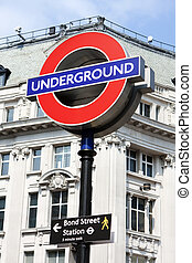 Bond street underground sign, London - Bond street...