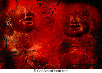 grunge red buddha background - two smiling Buddha carved...