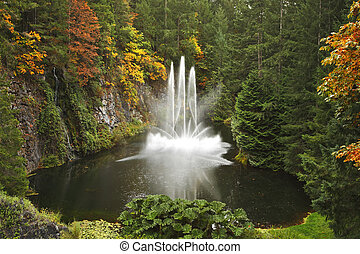 Magnificent dance fountain on island Vancouver - Magnificent...