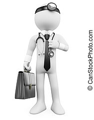 3D Doctor with a briefcase and a stethoscope. Rendered at...