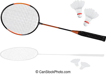 badminton racket and shuttlecock - Detailed badminton racket...