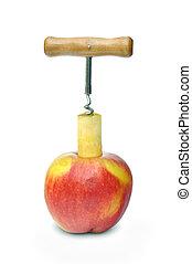 Apple and corkscrew - On white background corkscrew evokes...