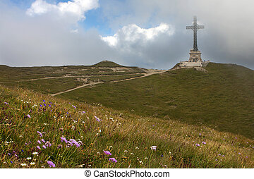 Caraiman heroes cross monument in Bucegi mountains Romania