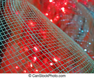 abstract red lights over interior grid, power details