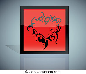 Flaming heart icon - Flaming heart shaped into icon box