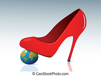 Feminine authority concept with red shoe and small globe