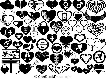 Hearts - Different hearts isolated on white