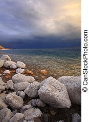 Coast of the Dead Sea in Israel in thunder-storm.