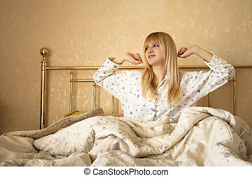 Blonde Woman Waking Up