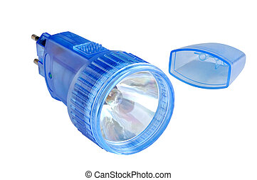 Rechargeable flashlight in a blue plastic case against white...