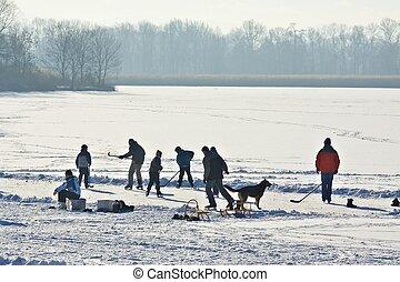 Hielo-patinaje, congelado, lago
