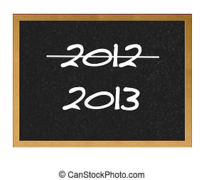 2012 end - Isolated blackboard with 2012 and 2013