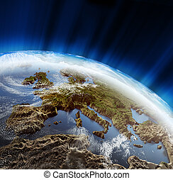 Europe 3d landscape. Maps courtesy NASA