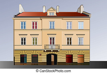 Classical facade - Facade of building from Warsaw. Famous...
