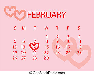 Valentine's Day marked out on a calendar