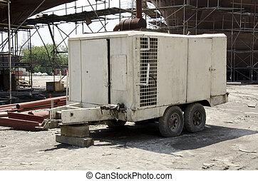 Een, reus, Industriebedrijven, lucht, Compressor, gebruikt,...